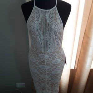 White Lace w/ Nude Slip Lined  Dress
